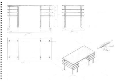 Ontwerptekeing van design meubel op maat: Bureau Tenshi